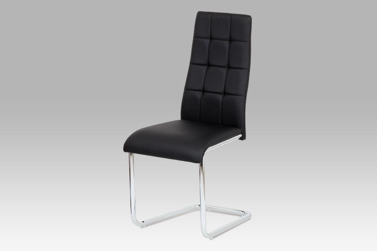 Autronic Jídelní židle AC-1620 BK, černá koženka / chrom