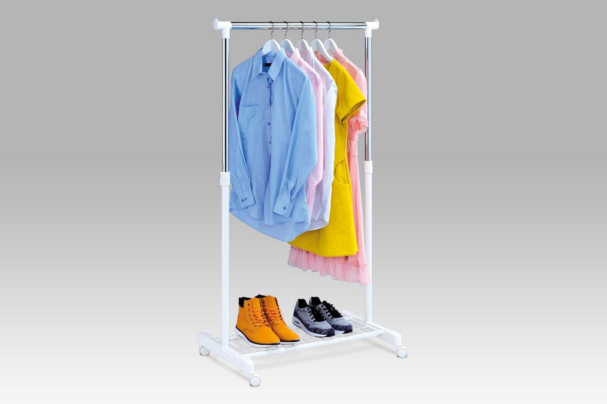 Autronic Stojan na šaty s odkladačem na boty ABD-1210 WT, chrom / bílá