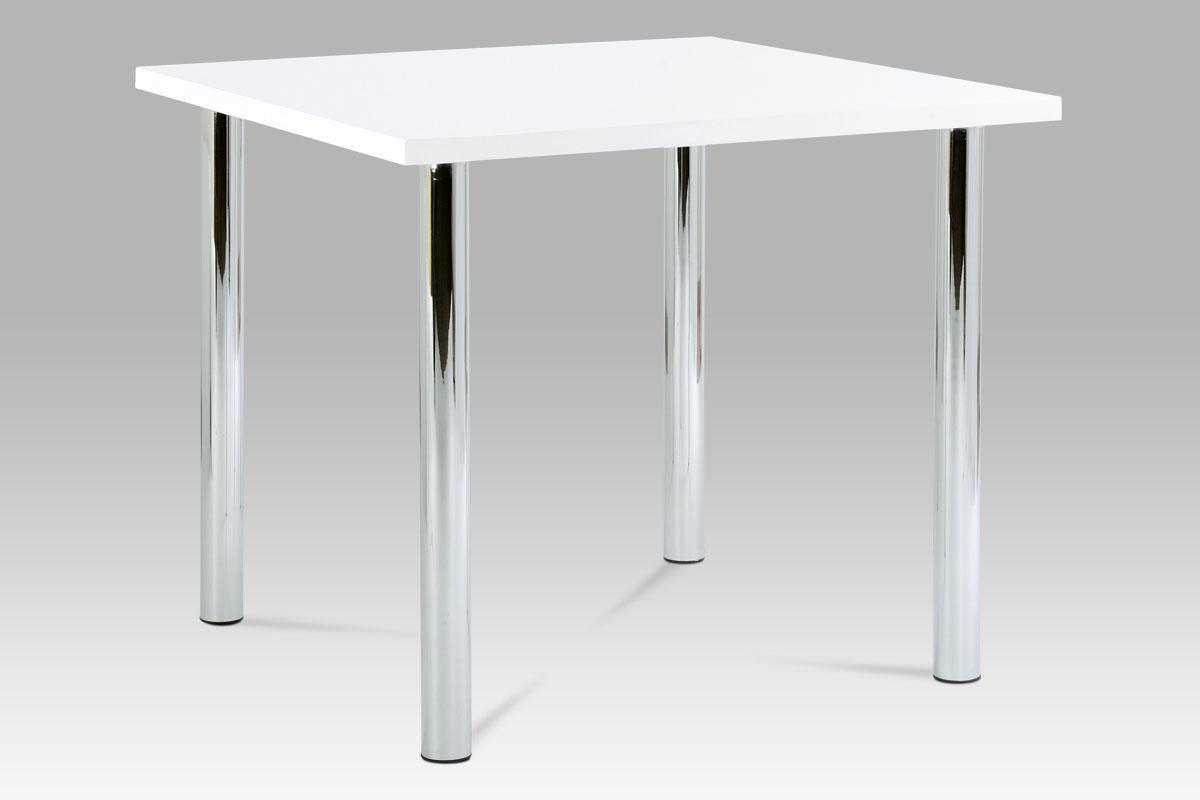 Smartshop Jídelní stůl SAT-1913B WT 90x90 cm, chrom / vysoký lesk bílý