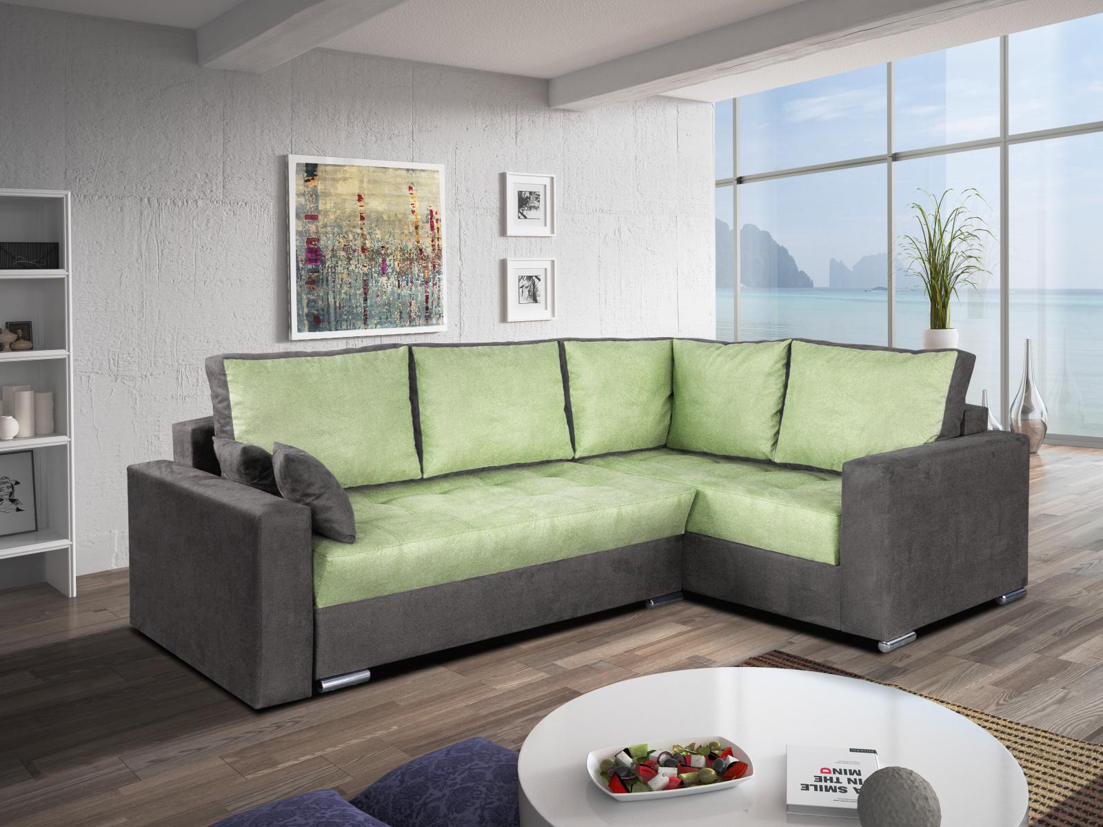 Smartshop Rohová sedačka VALERIO BIS 3 pravá, zelená látka/šedá látka