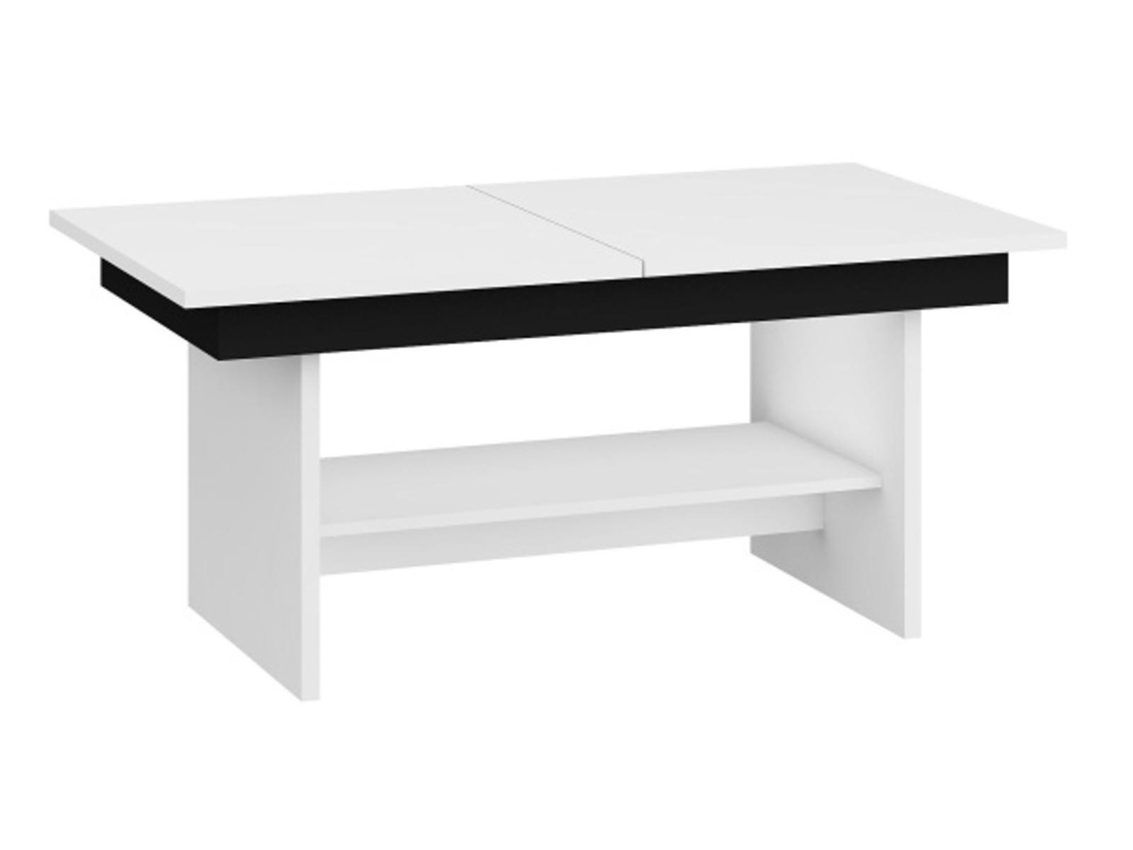 MORAVIA FLAT Konferenční stolek DALLAS rozkládací LESK, barva: bílá/černý lesk