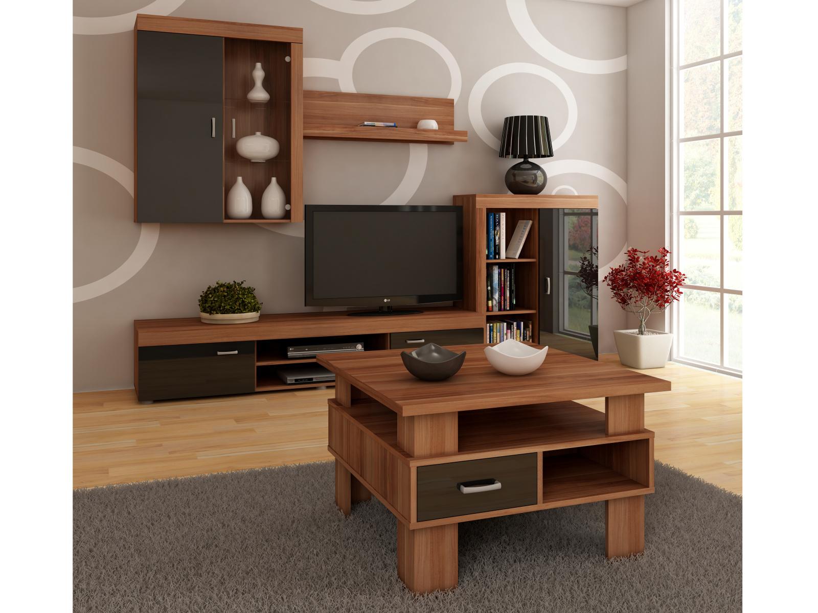MORAVIA FLAT Konferenční stolek GAMMA, barva: švestka wallis/černý lesk