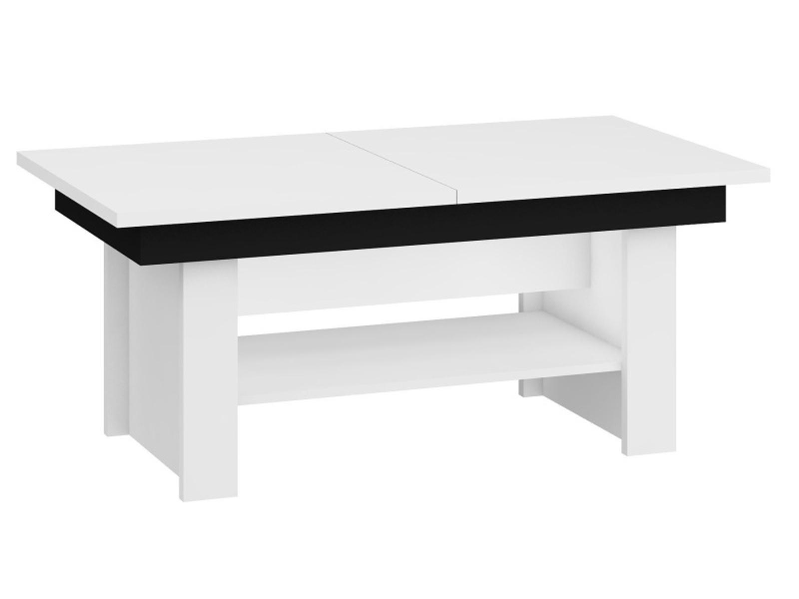 MORAVIA FLAT Konferenční stolek MEXICO rozkládací LESK, barva: bílá/černý lesk