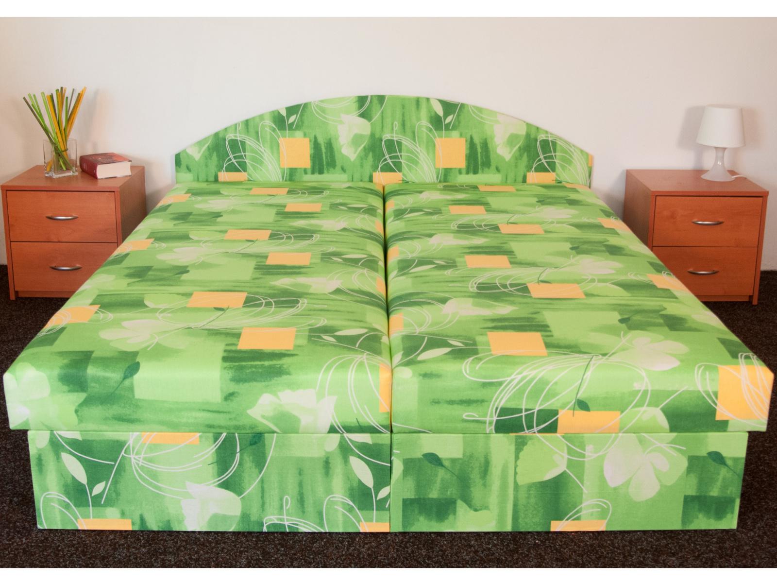 Smartshop Čalouněná postel ÁJA 140x200 cm, zelená látka