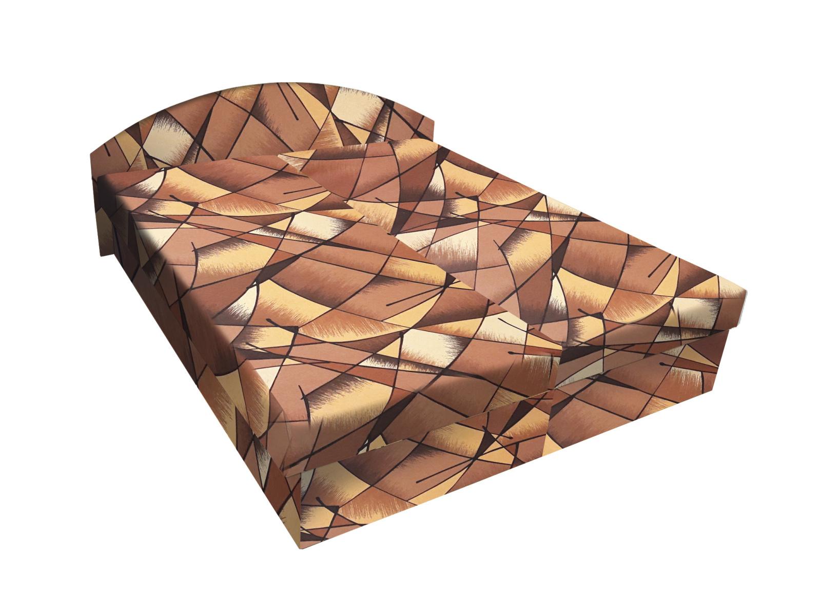 Smartshop Čalouněná postel ÁJA 120x200 cm, hnědožlutá látka