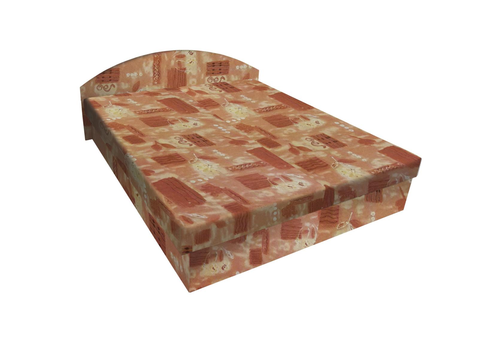 Smartshop Čalouněná postel ÁJA 120x200 cm, hnědá látka