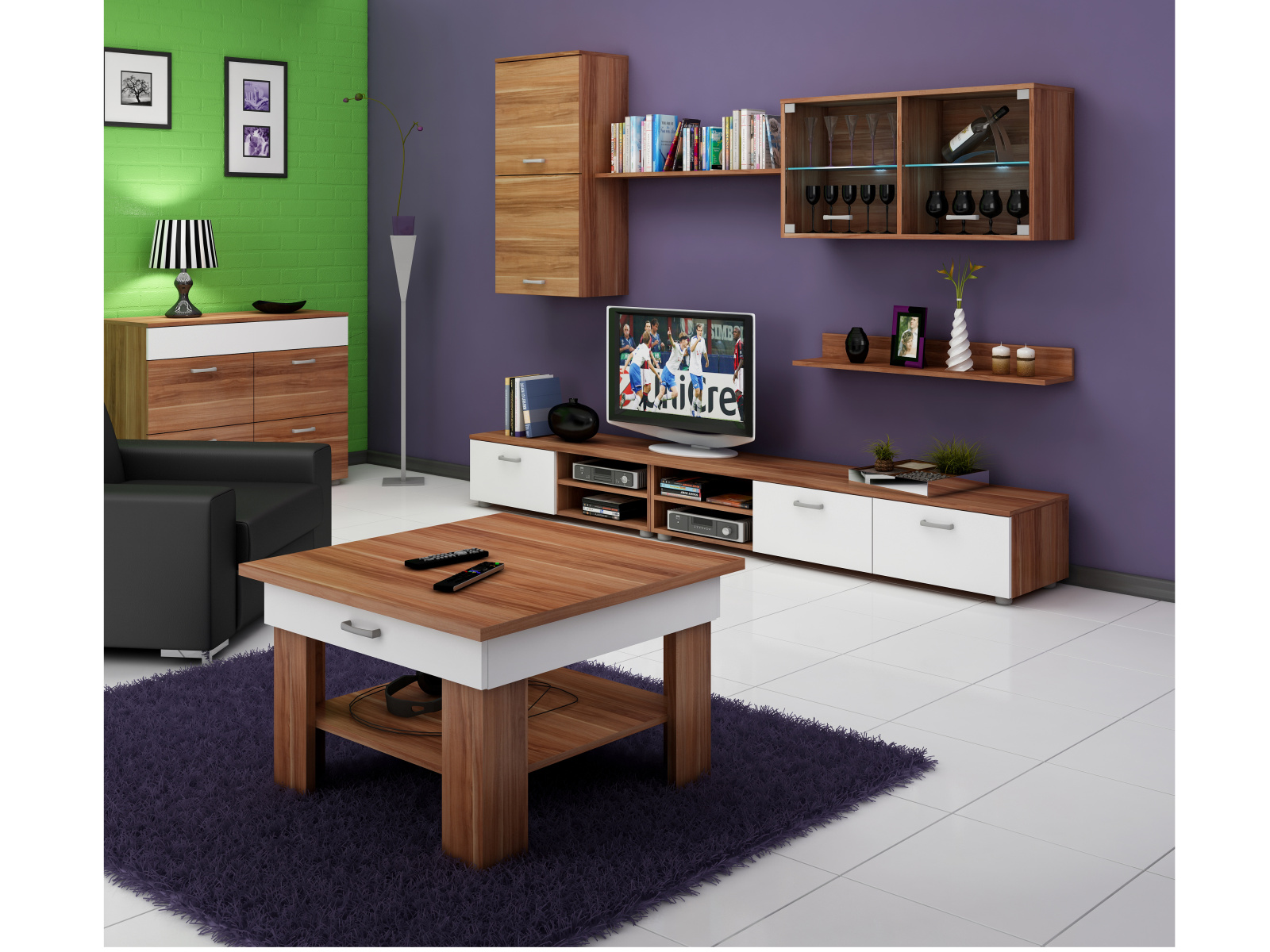 MORAVIA FLAT Konferenční stolek OMEGA, švestka wallis/bílá