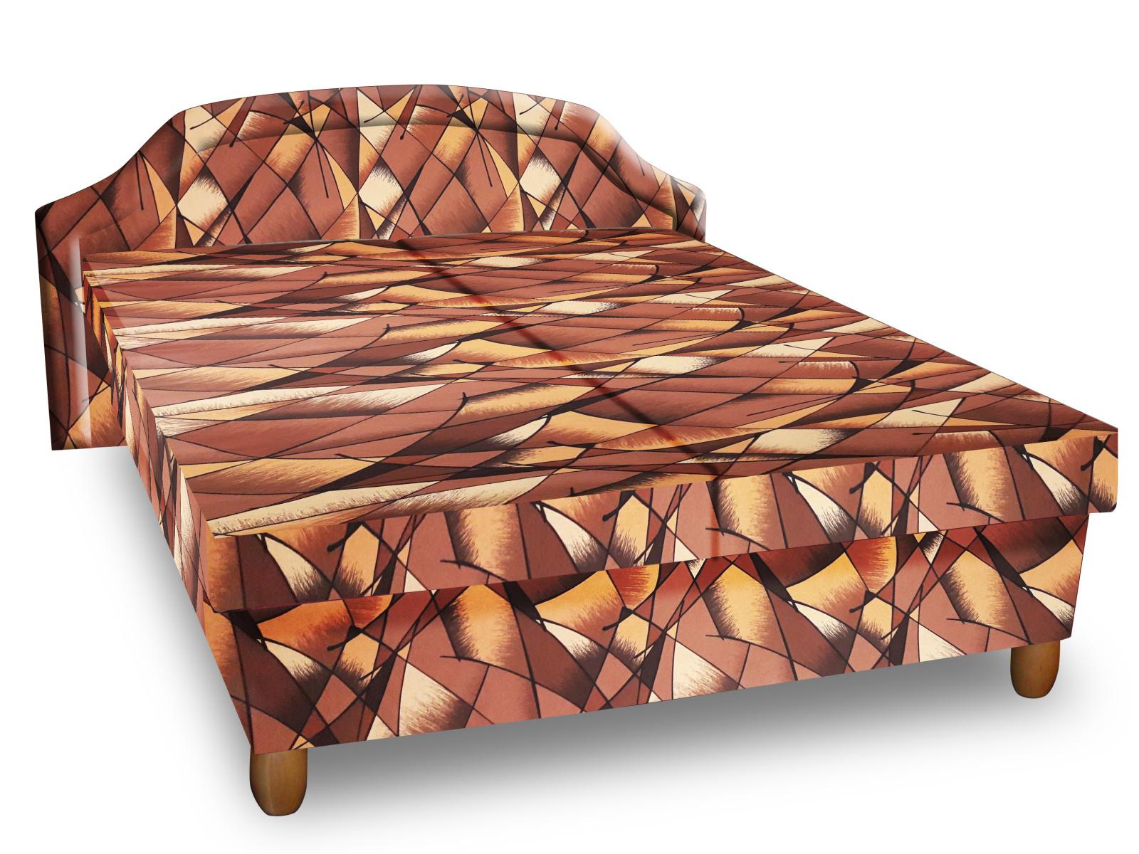 Smartshop Čalouněná postel KARINA 120x200 cm, hnědožlutá látka
