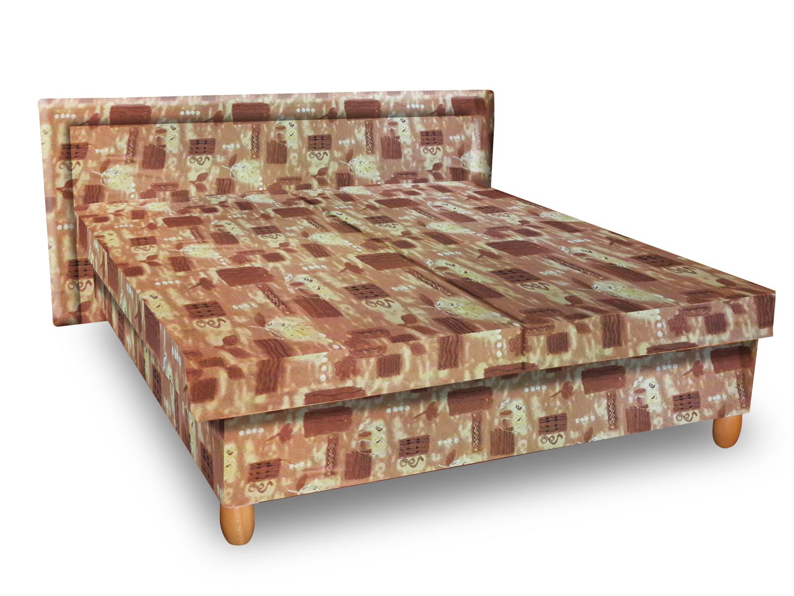 Smartshop Čalouněná postel IVA 140x200 cm, hnědá látka