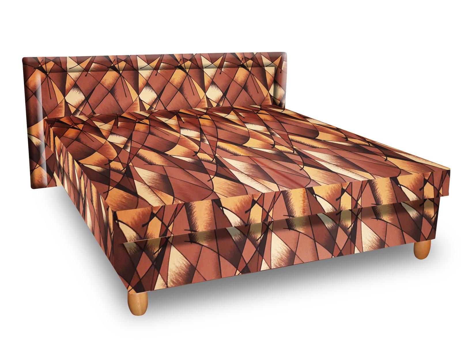 Smartshop Čalouněná postel IVA 120x200 cm, hnědožlutá látka