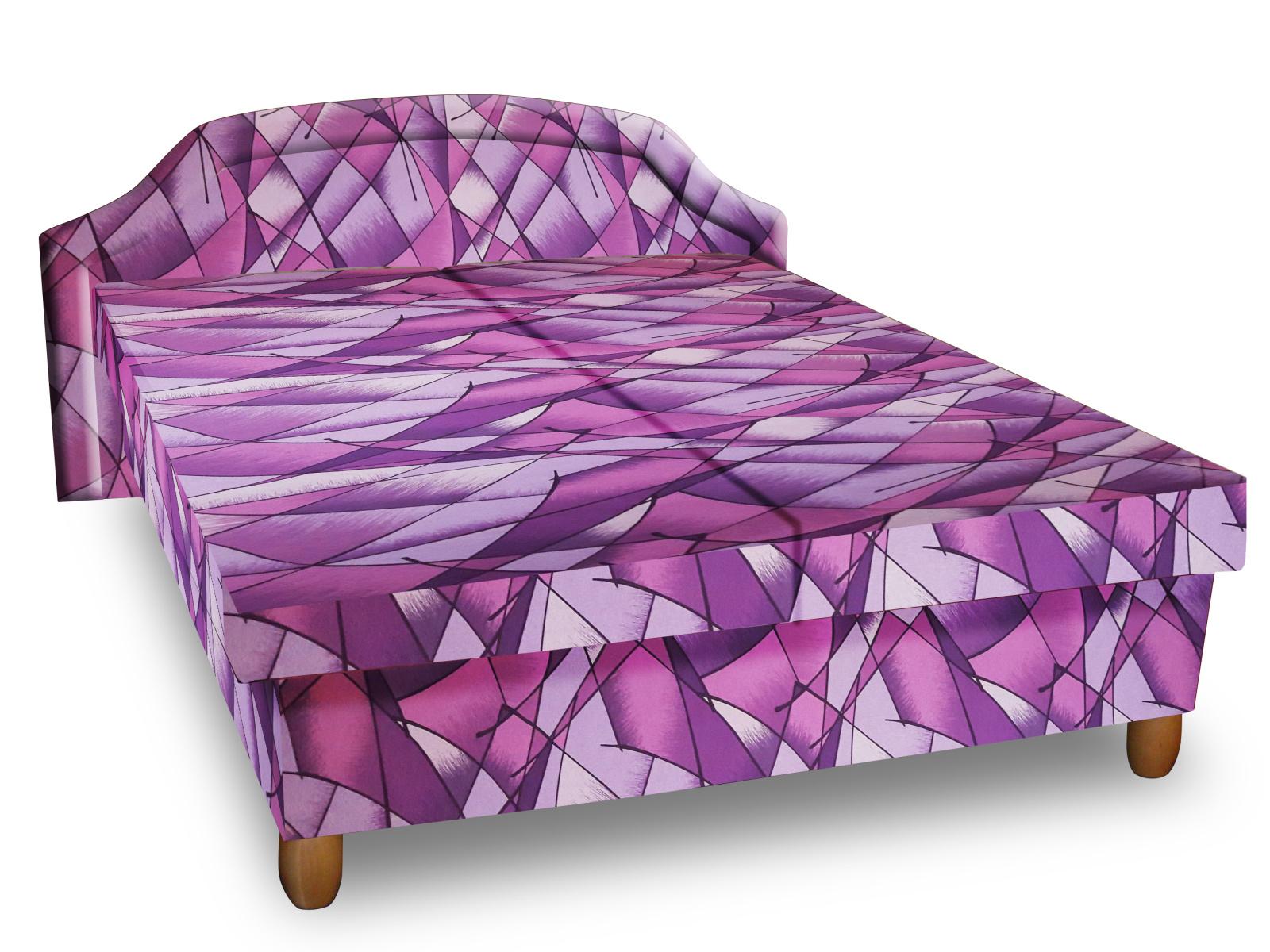Smartshop Čalouněná postel KARINA 120x200 cm, fialová látka