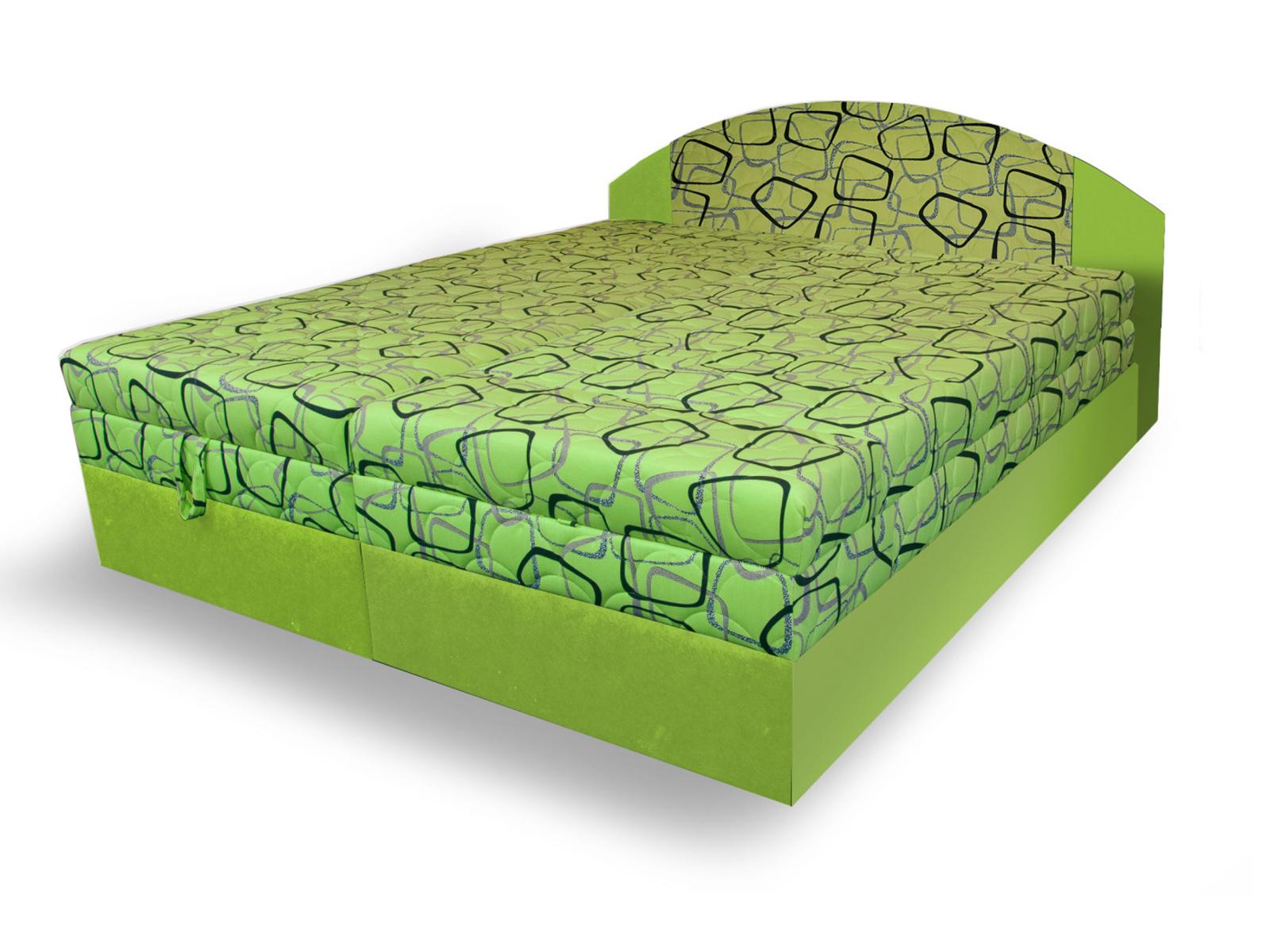 Smartshop Polohovací čalouněná postel VESNA 160x200 cm, zelená látka