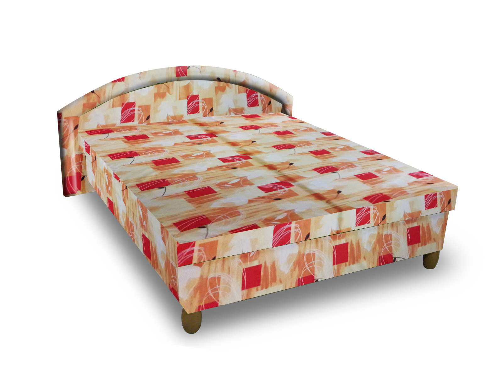 Smartshop Čalouněná postel MAGDA 140x200 cm, oranžová látka