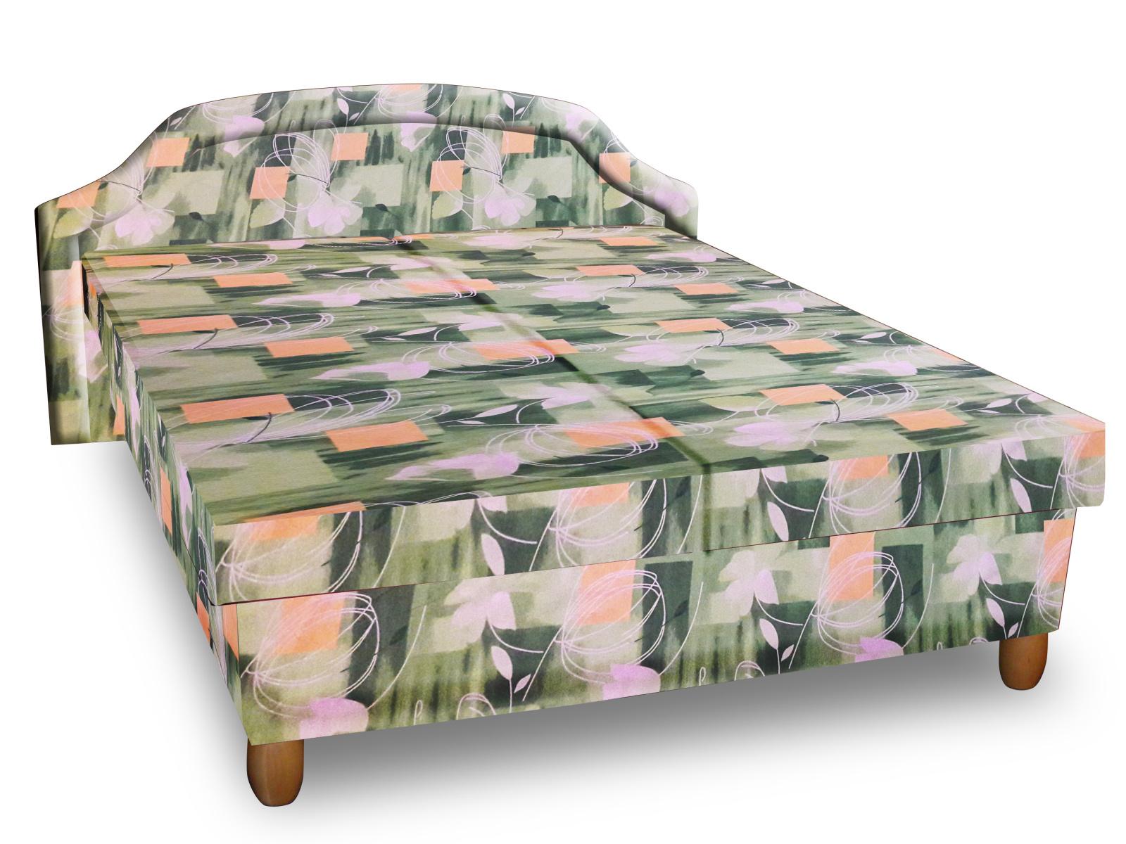 Smartshop Čalouněná postel KARINA 120x200 cm, zelená látka
