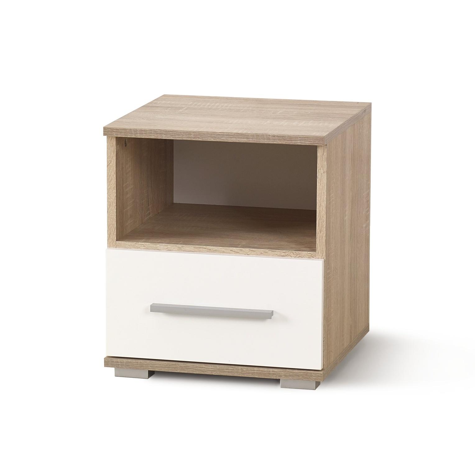 Noční stolek LIMA SN1, dub sonoma/bílá