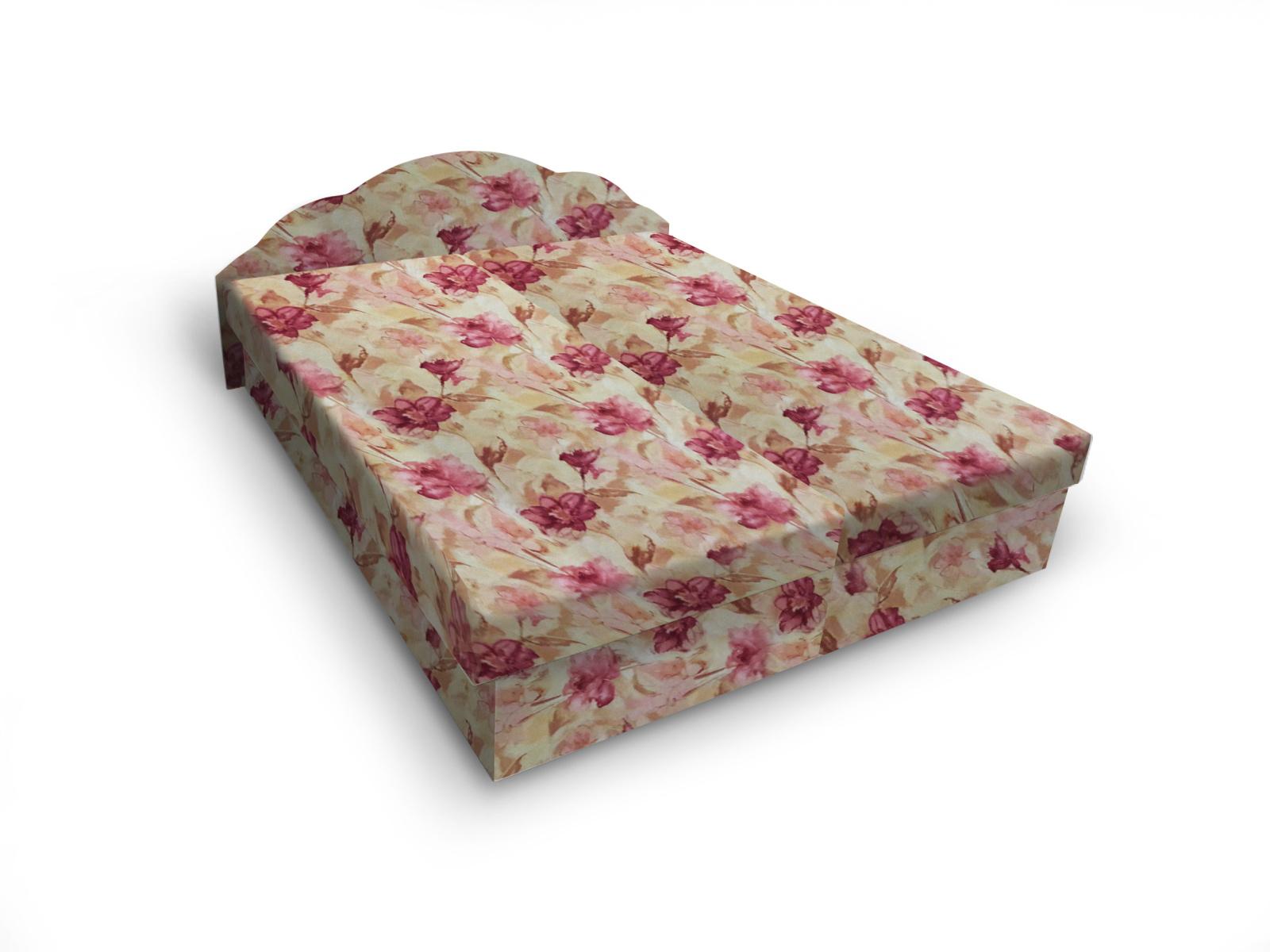 Smartshop Čalouněná postel JITKA 120x200 cm, květinový vzor