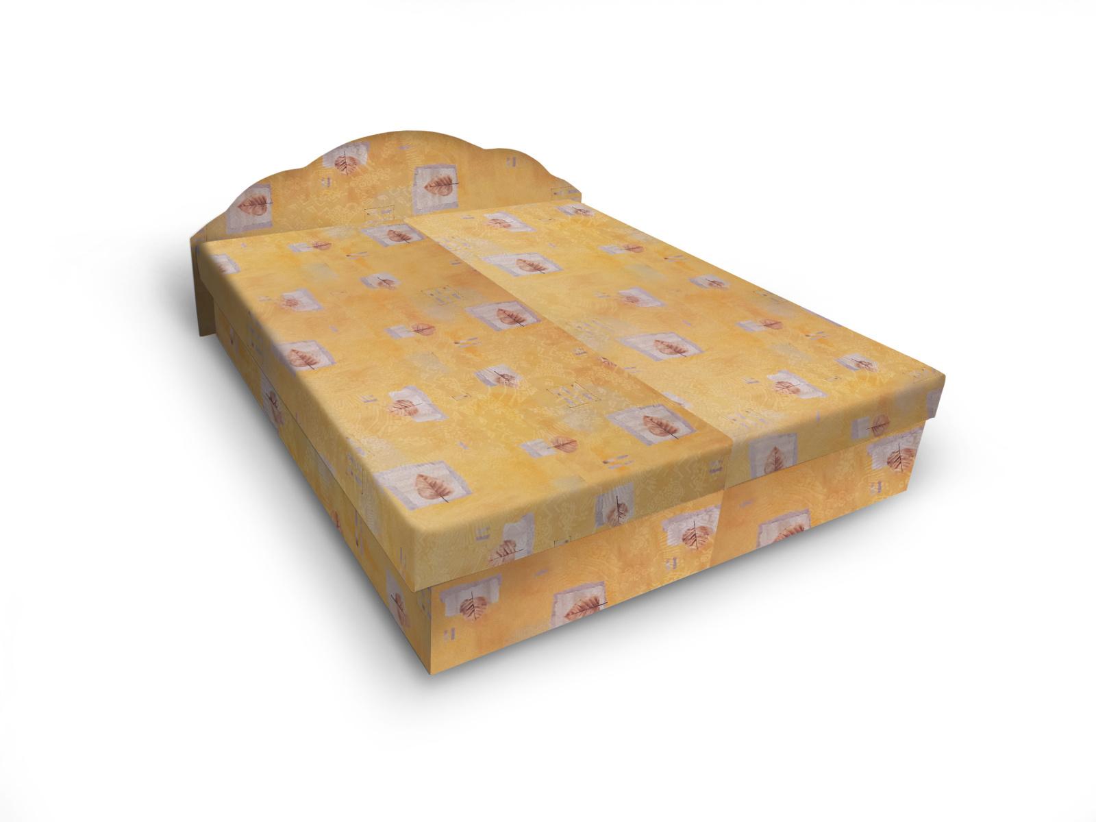 Smartshop Čalouněná postel JITKA 120x200 cm, žlutá látka
