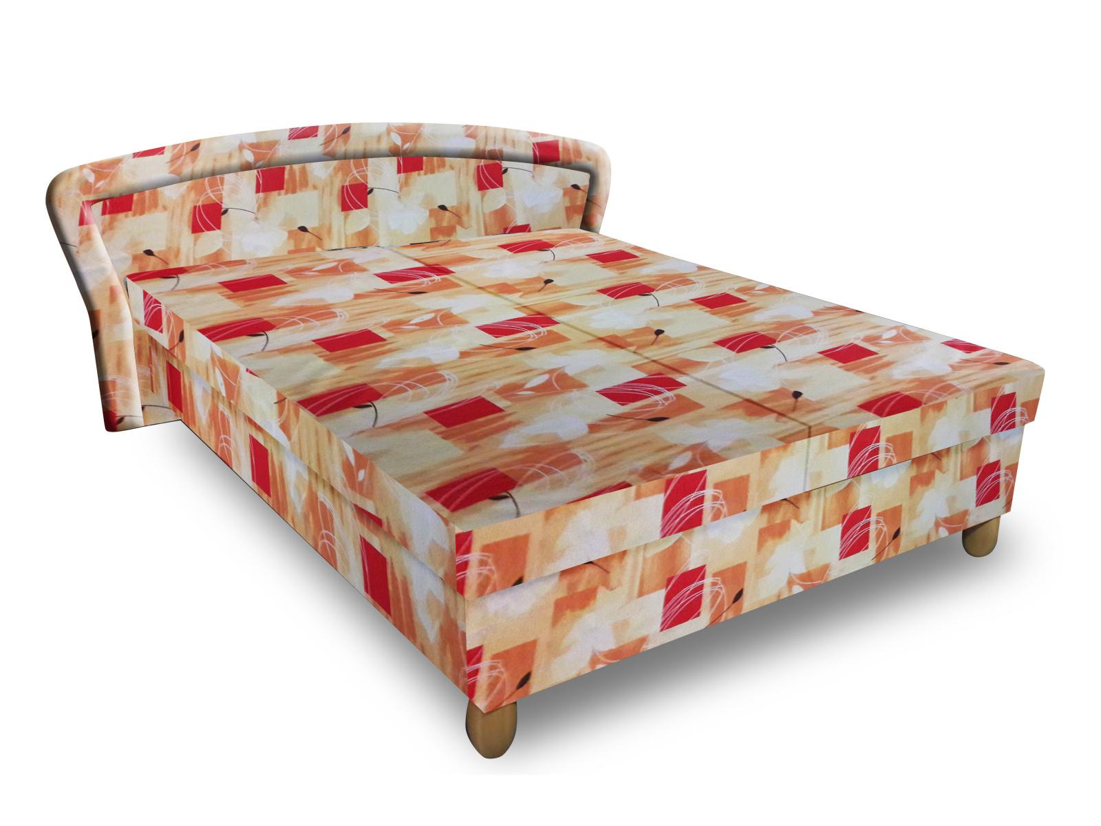 Smartshop Čalouněná postel PAVLA 120x200 cm, oranžová látka