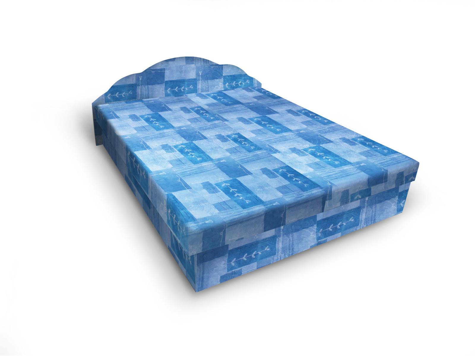 Smartshop Čalouněná postel JITKA 120x200 cm, modrá látka