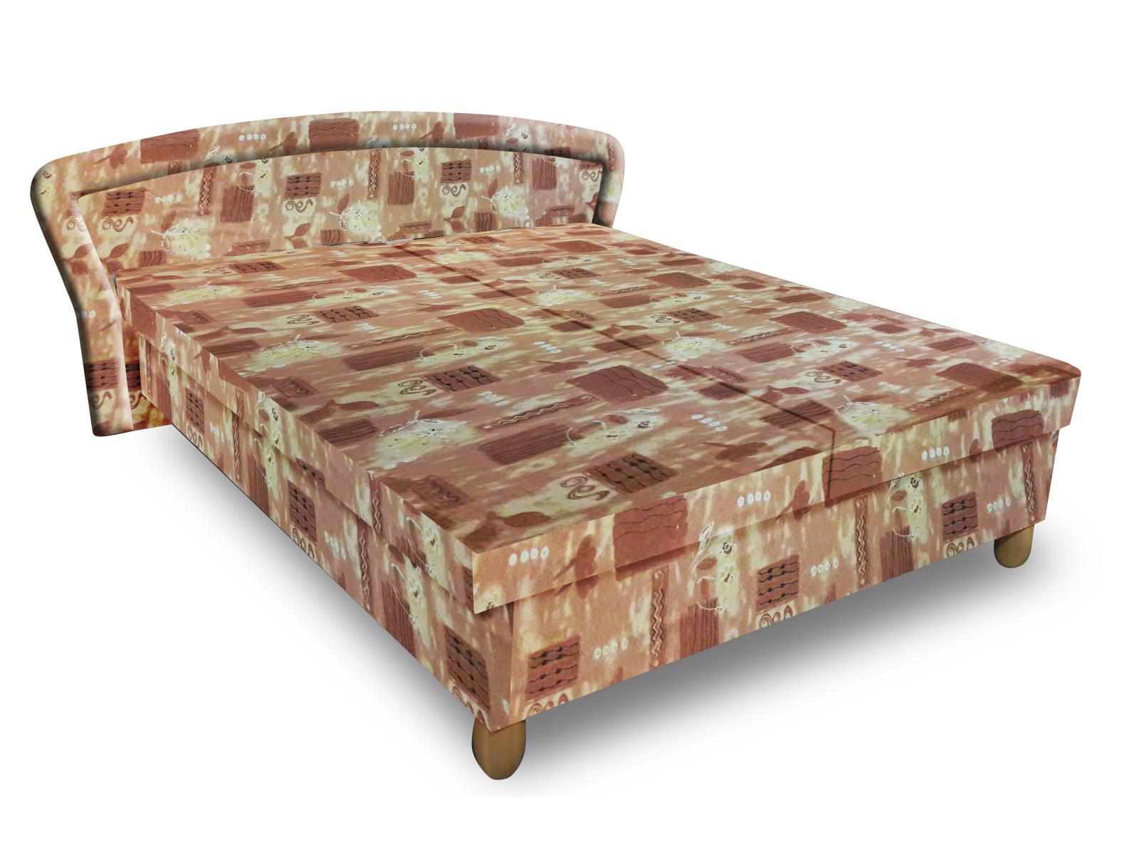 Smartshop Čalouněná postel PAVLA 140x200 cm, hnědá látka