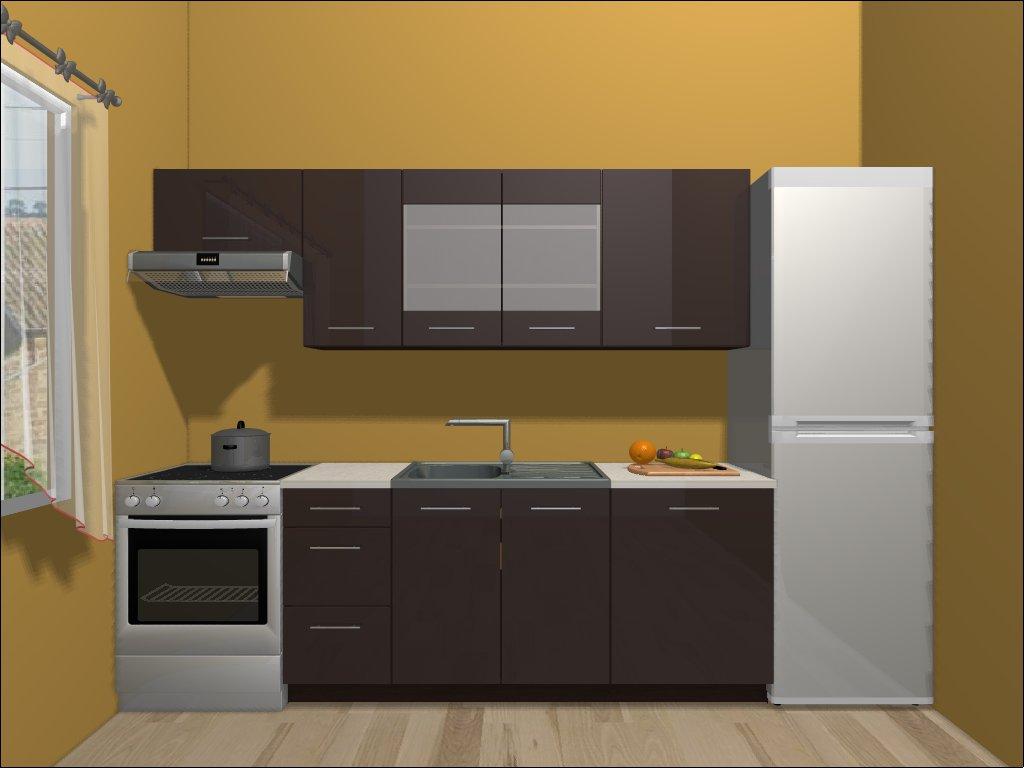 Smartshop Kuchyně TOP LINE 180/240 cm, hnědý lesk