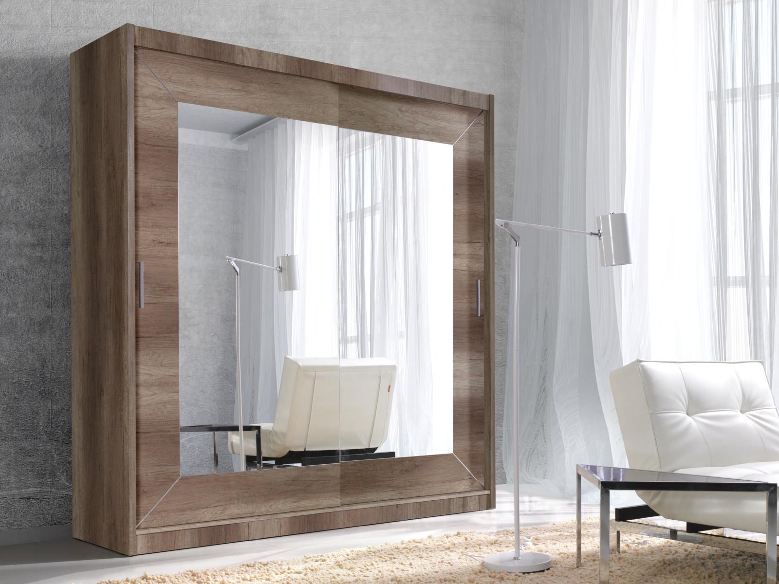 Smartshop ALFA šatní skříň se zrcadlem 180 TYP 17, dub country