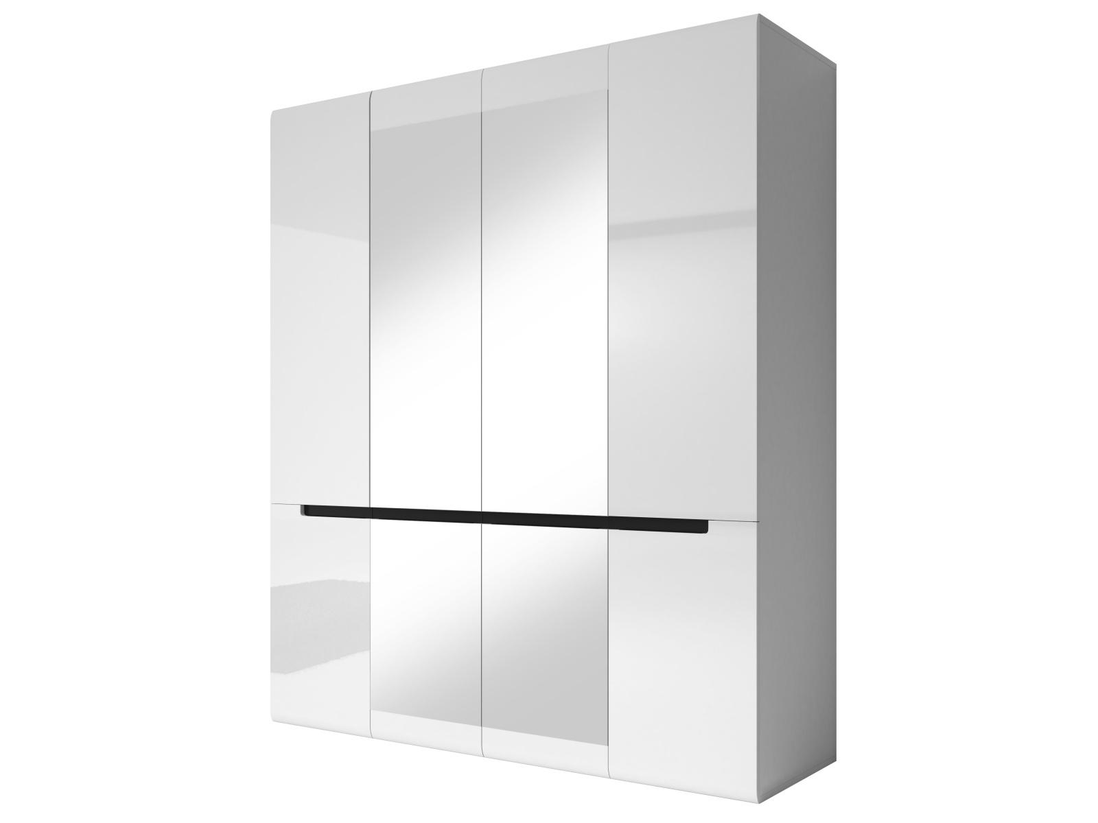 Smartshop HEKTOR šatní skříň se zrcadlem 180 TYP 20, bílá/bílý lesk