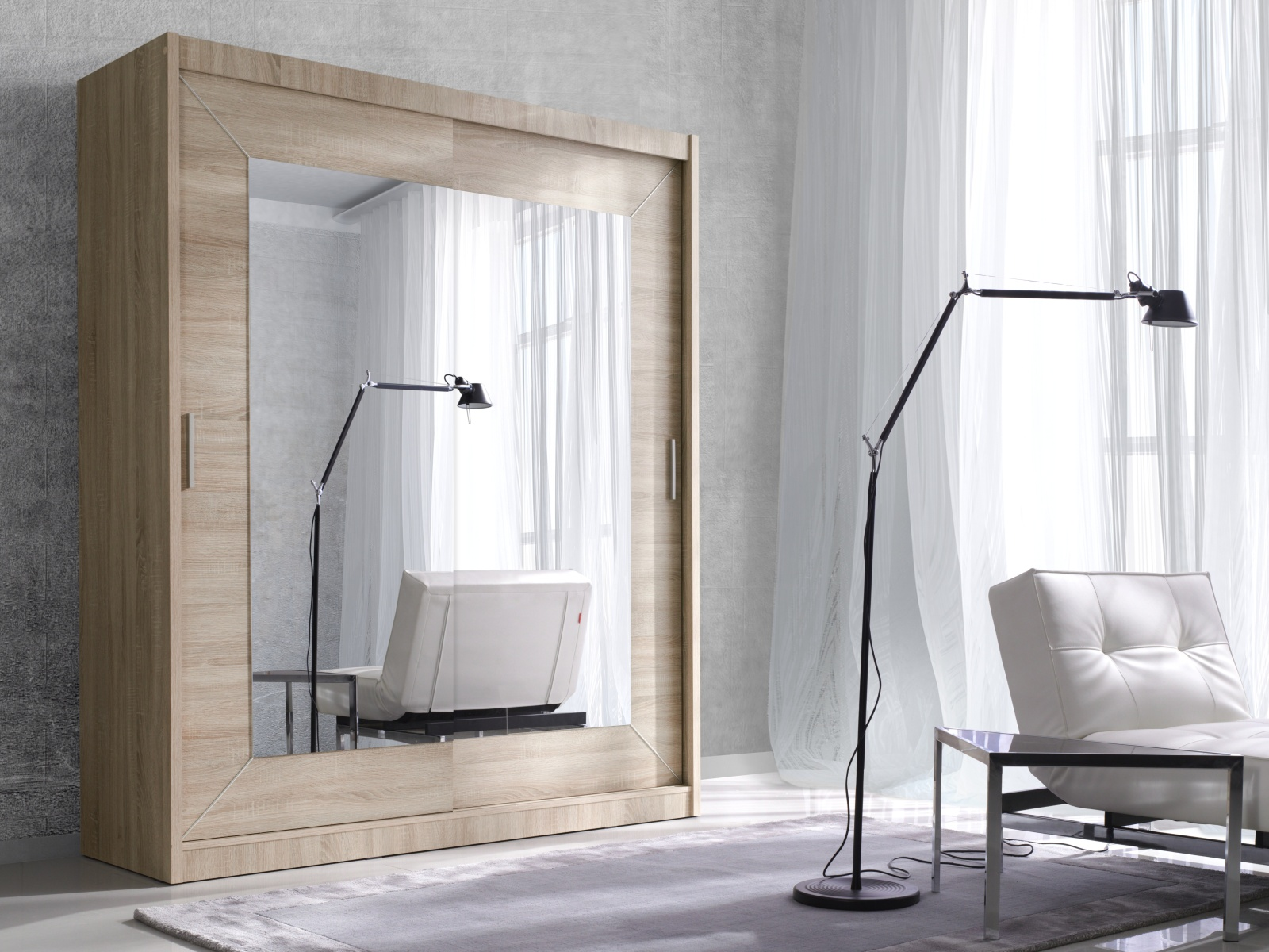 Smartshop ALFA šatní skříň se zrcadlem 200 TYP 18, dub sonoma světlý