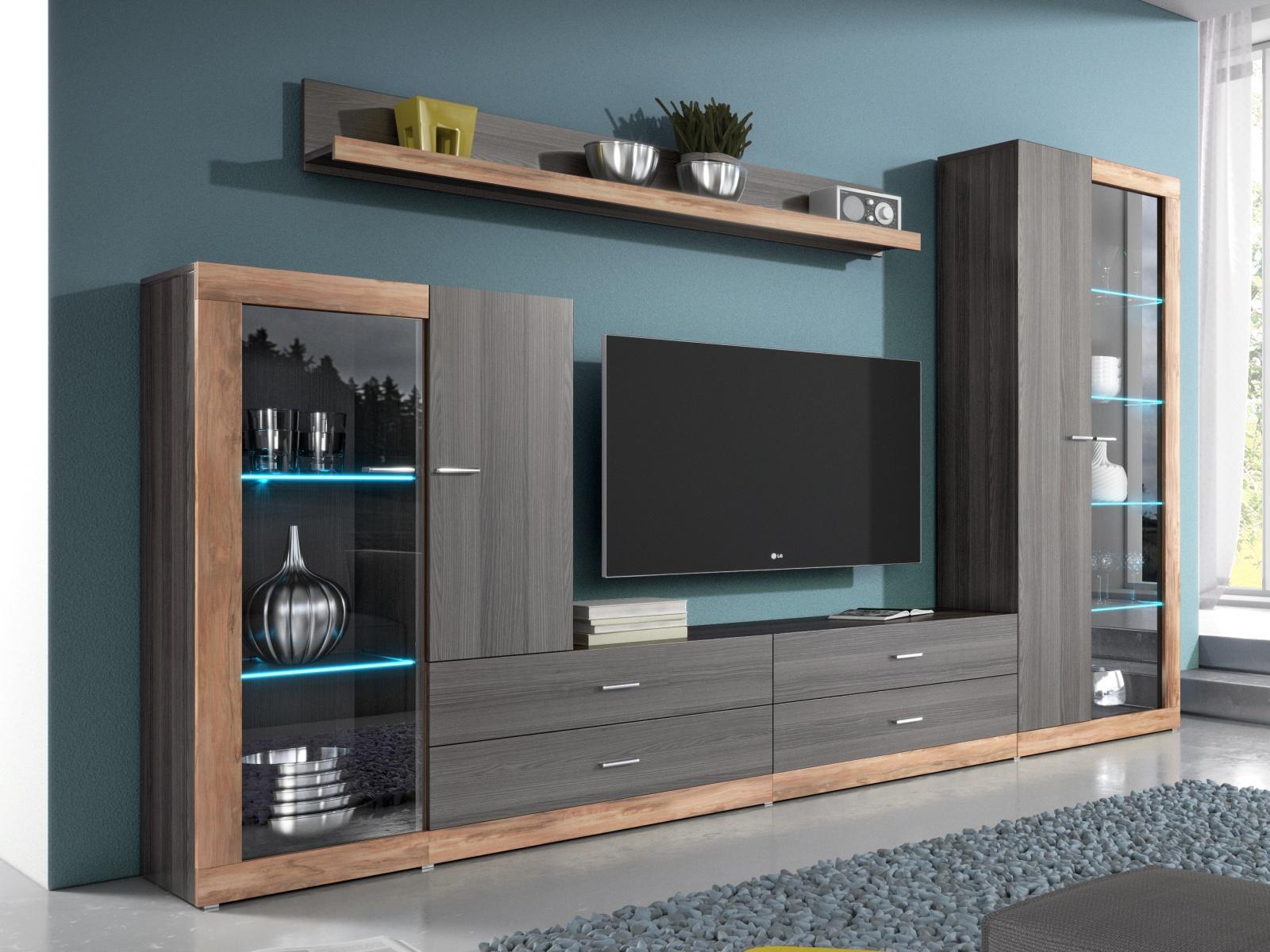 Smartshop TESSA obývací stěna TYP 10, touchwood/saténový ořech