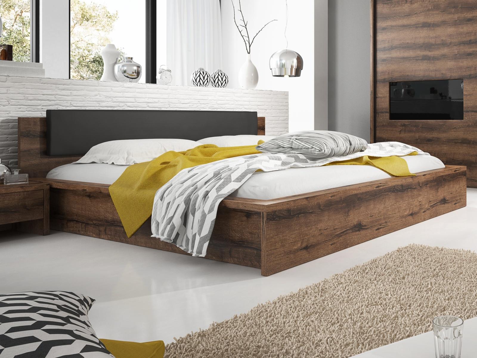 Smartshop INDIRA postel s roštem a úložným prostorem 180x200 cm TYP 52, dub monastery/černá