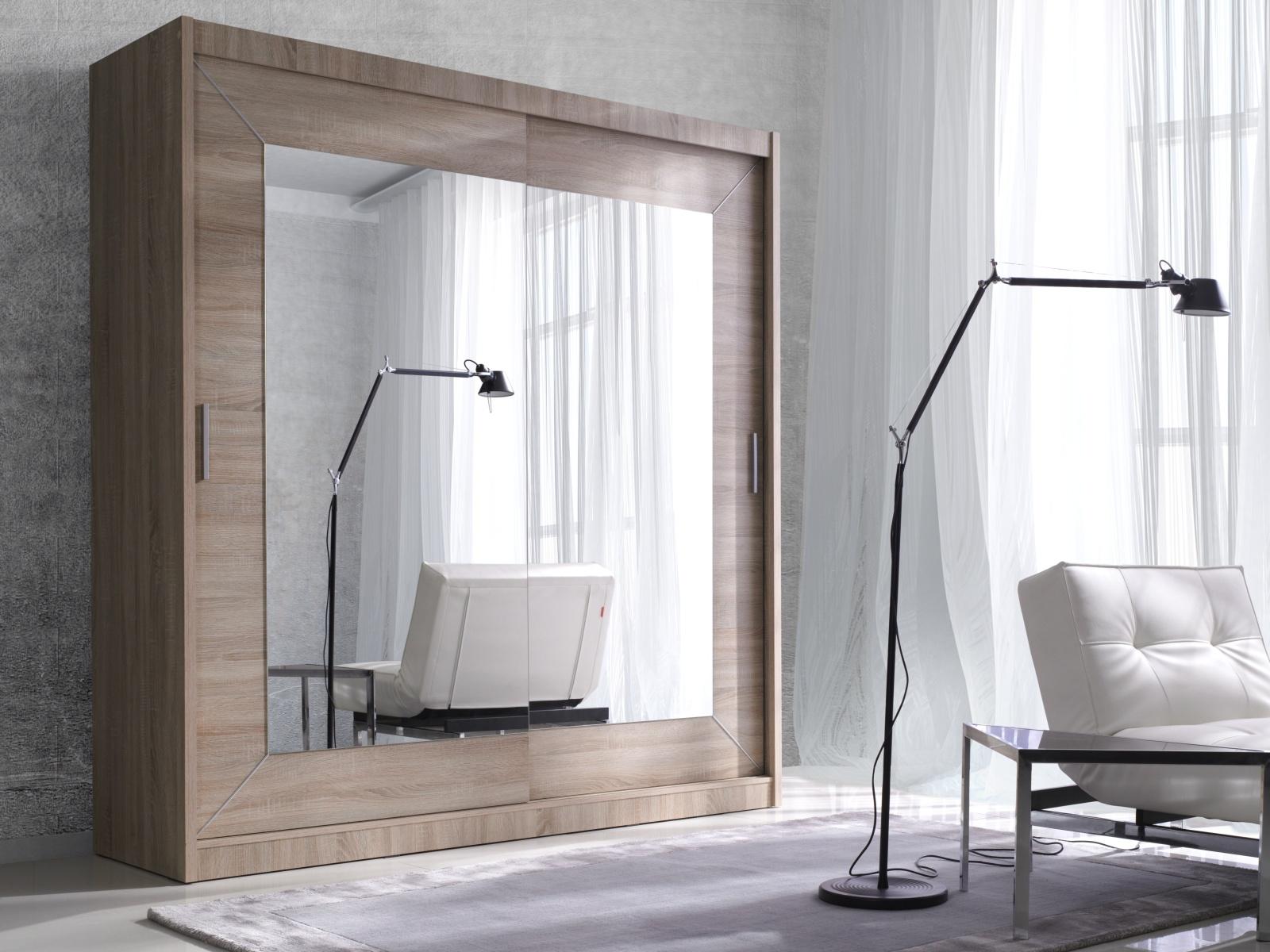 Smartshop ALFA šatní skříň se zrcadlem 180 TYP 17, dub sonoma světlý