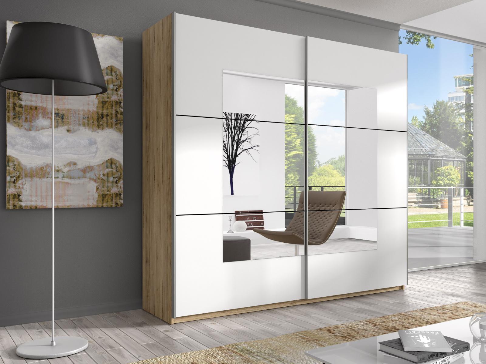 Smartshop BETA šatní skříň se zrcadlem 180 TYP 56, dub san remo světlý/bílá DOPRODEJ