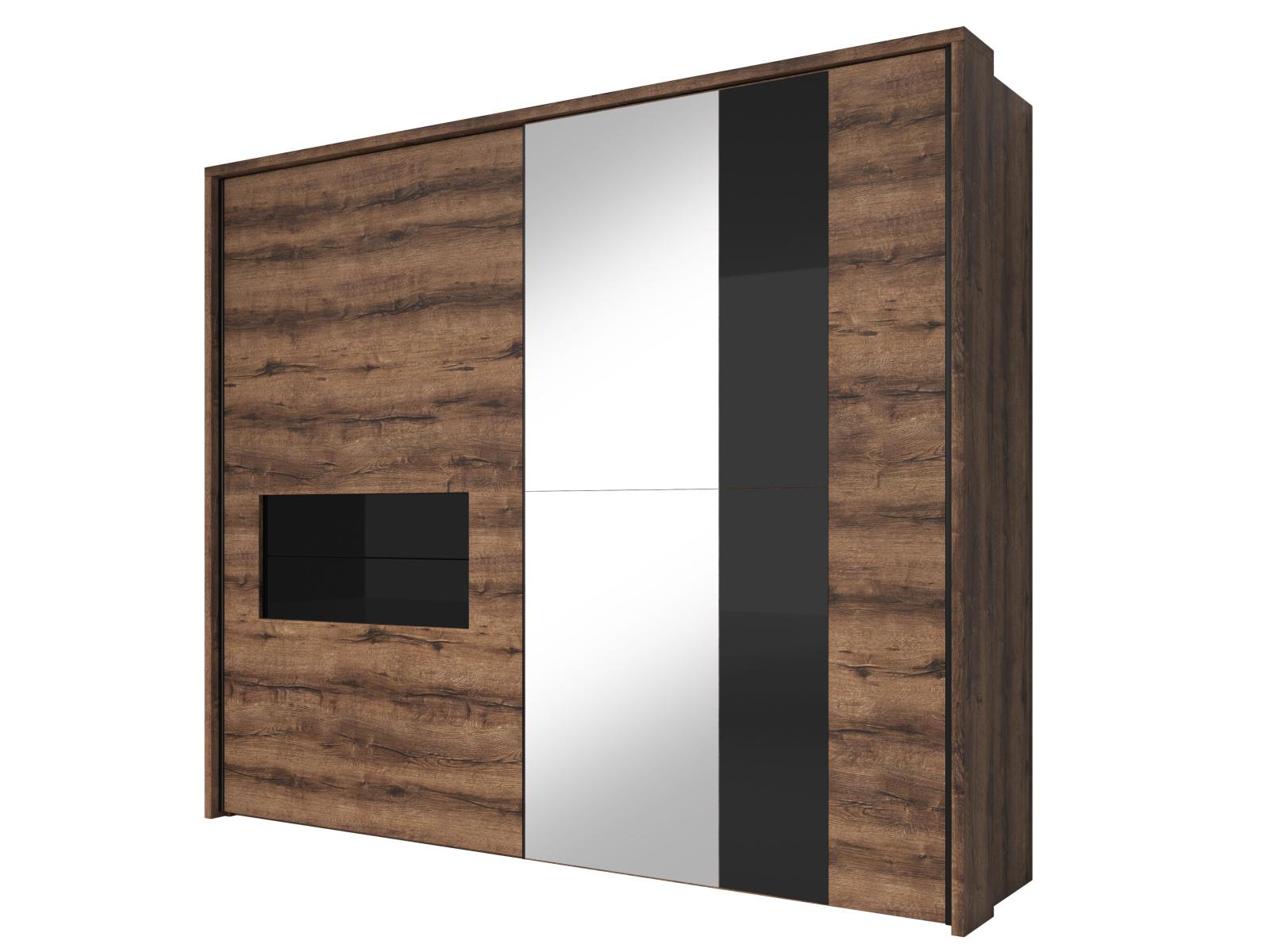 Smartshop INDIRA šatní skříň se zrcadlem 258 TYP 19, dub monastery/černé sklo
