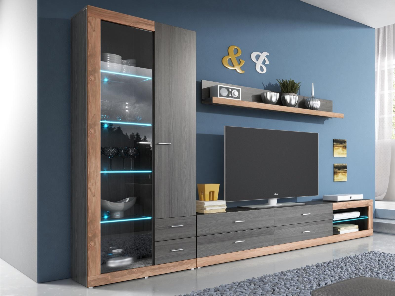 Smartshop TESSA obývací stěna TYP 09, touchwood/saténový ořech