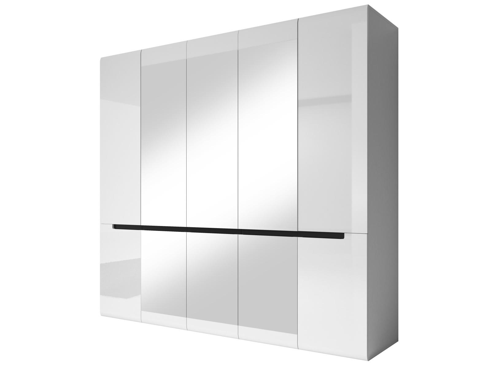 Smartshop HEKTOR šatní skříň se zrcadlem 225 TYP 21, bílá/bílý lesk