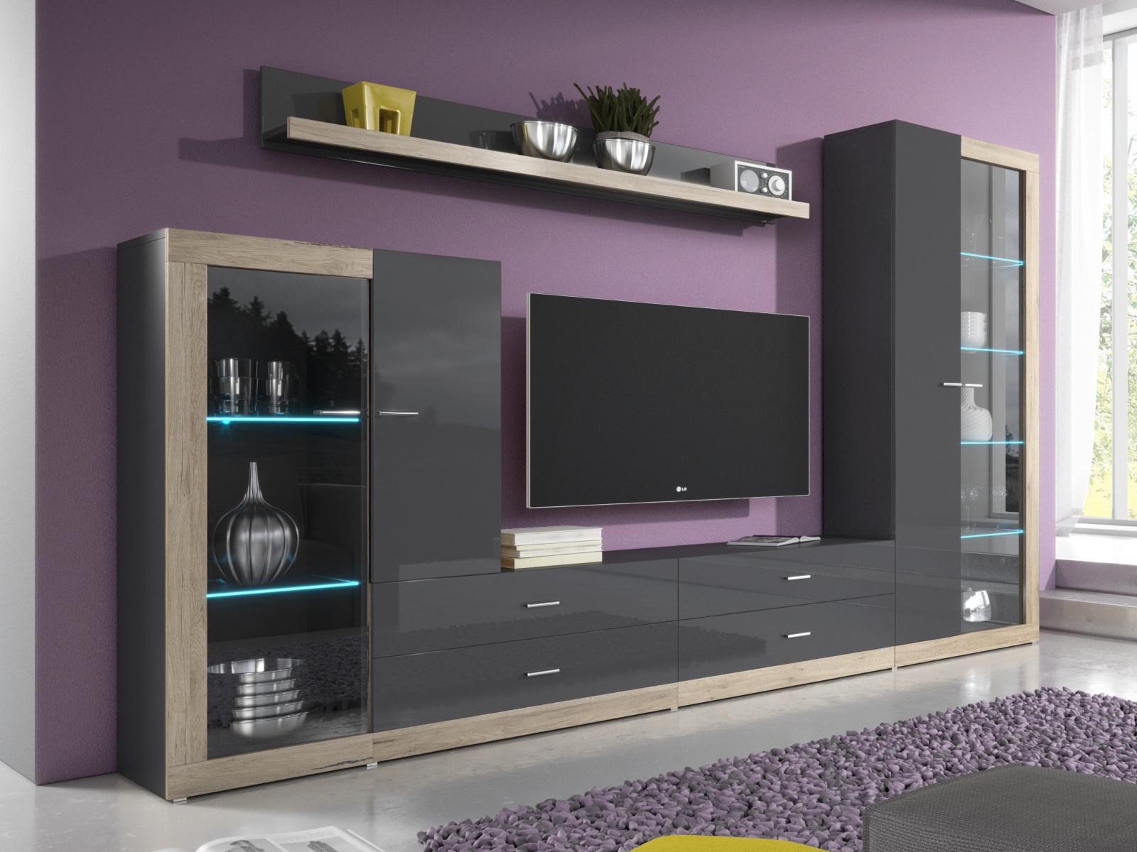 Smartshop TESSA obývací stěna TYP 10, dub san remo světlý/antracit lesk
