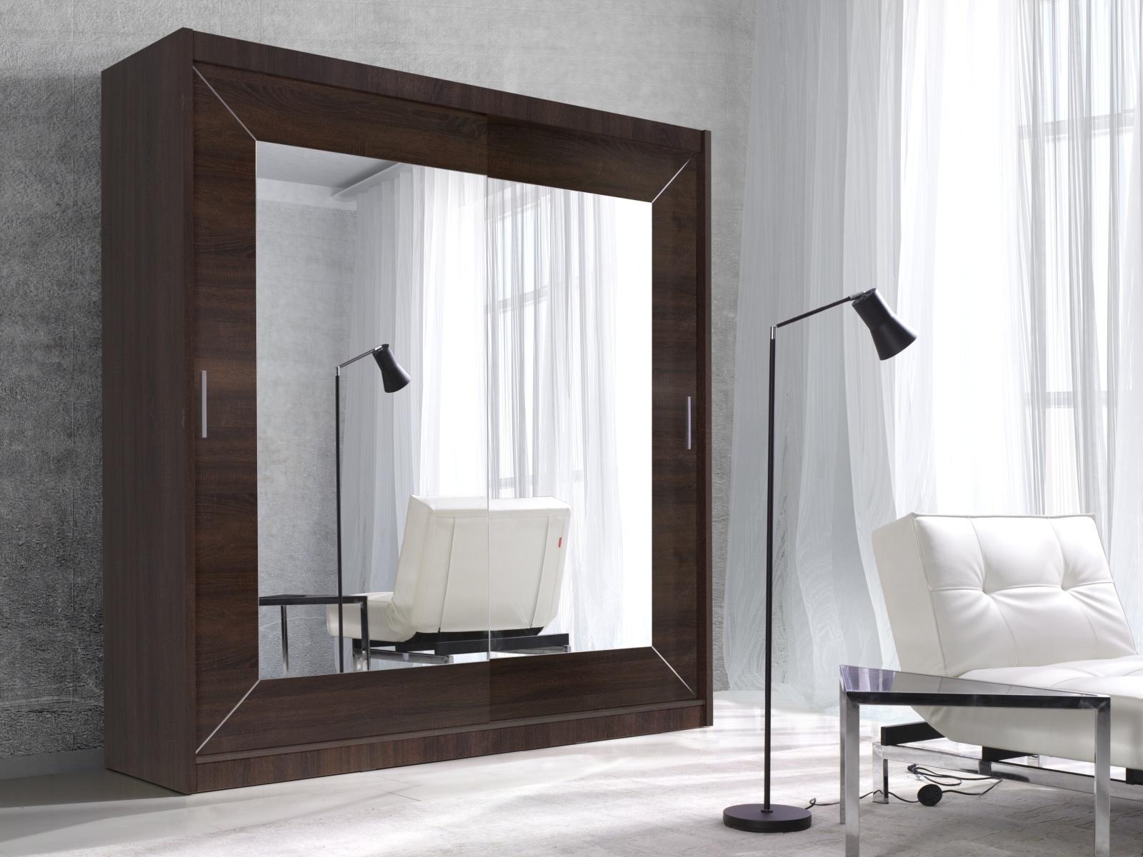 Smartshop ALFA šatní skříň se zrcadlem 200 TYP 18, dub sonoma tmavý
