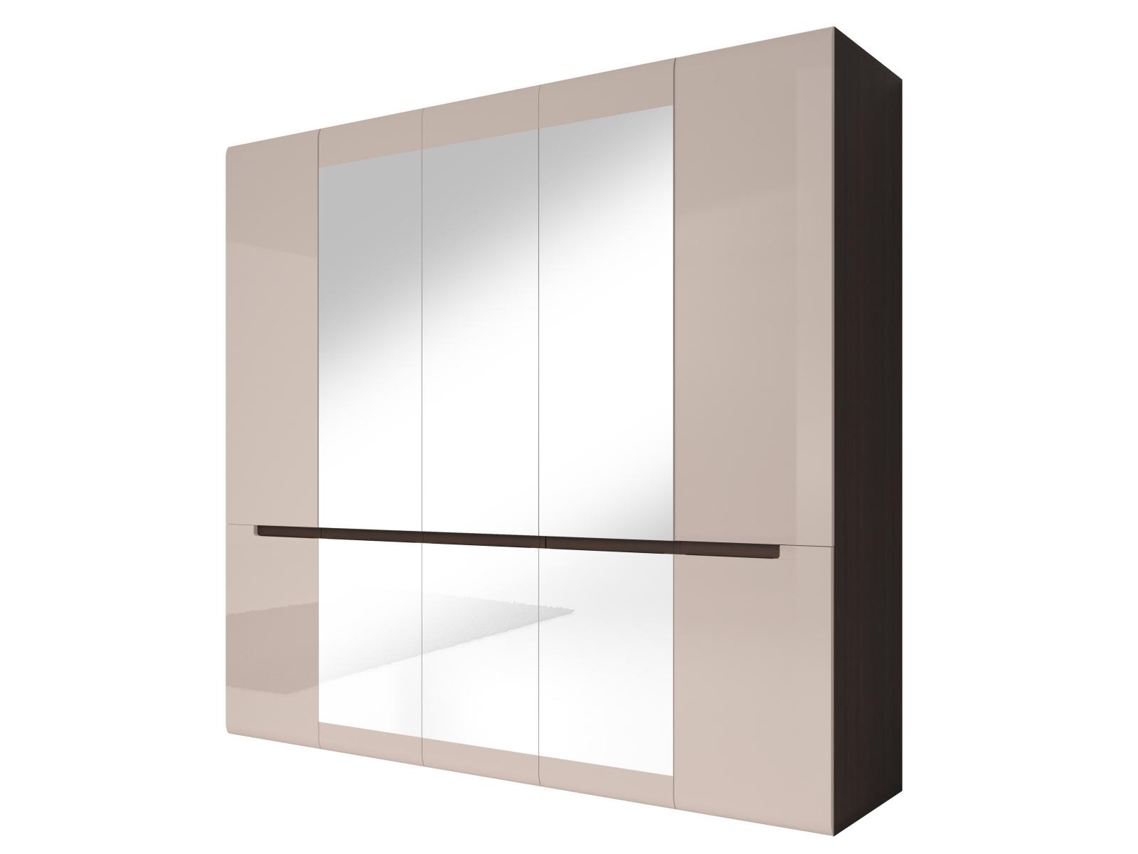 Smartshop HEKTOR šatní skříň se zrcadlem 225 TYP 21, dub sonoma tmavý/pískově šedý lesk