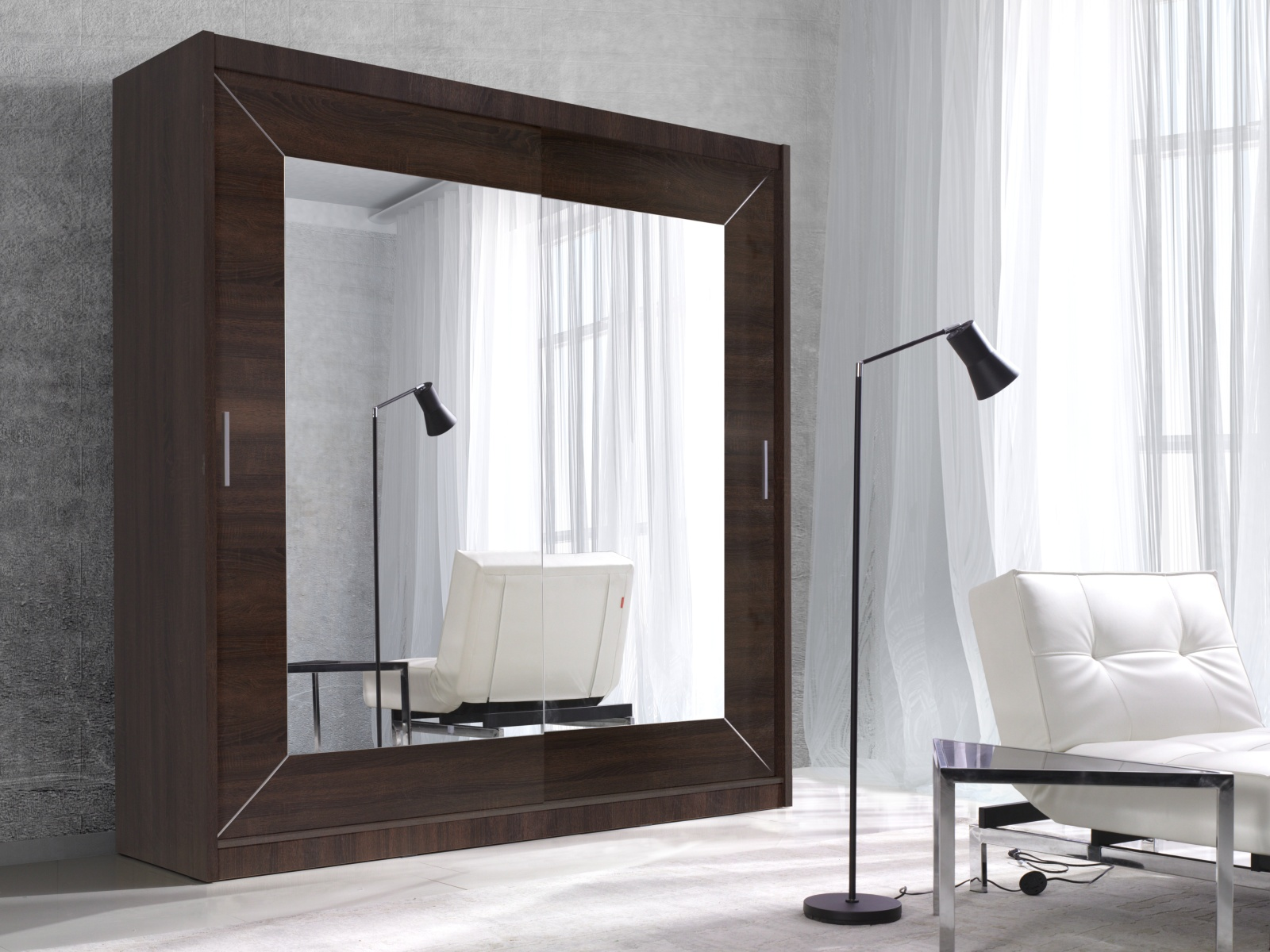 Smartshop ALFA šatní skříň se zrcadlem 180 TYP 17, dub sonoma tmavý