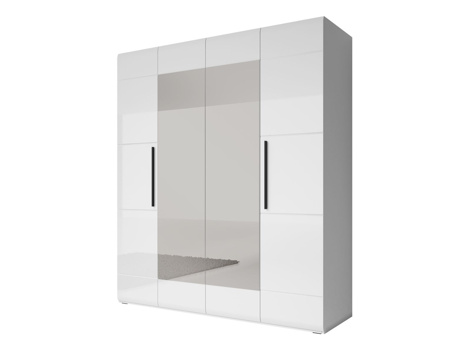 Smartshop HARMONY šatní skříň se zrcadlem 180 TYP 20, bílá/bílý lesk