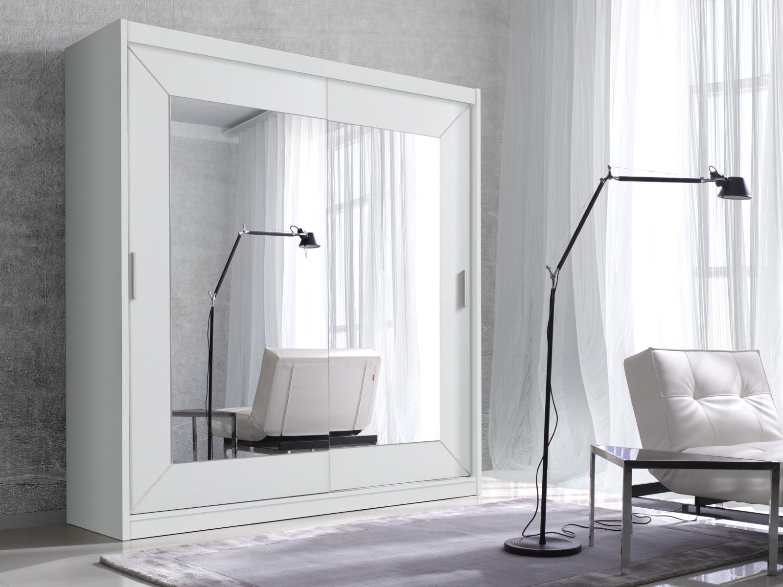 Smartshop ALFA šatní skříň se zrcadlem 200 TYP 18, bílá