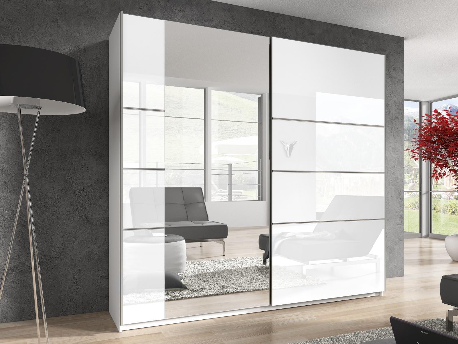 Smartshop BETA šatní skříň se zrcadlem 180 TYP 56, bílá/bílý lesk