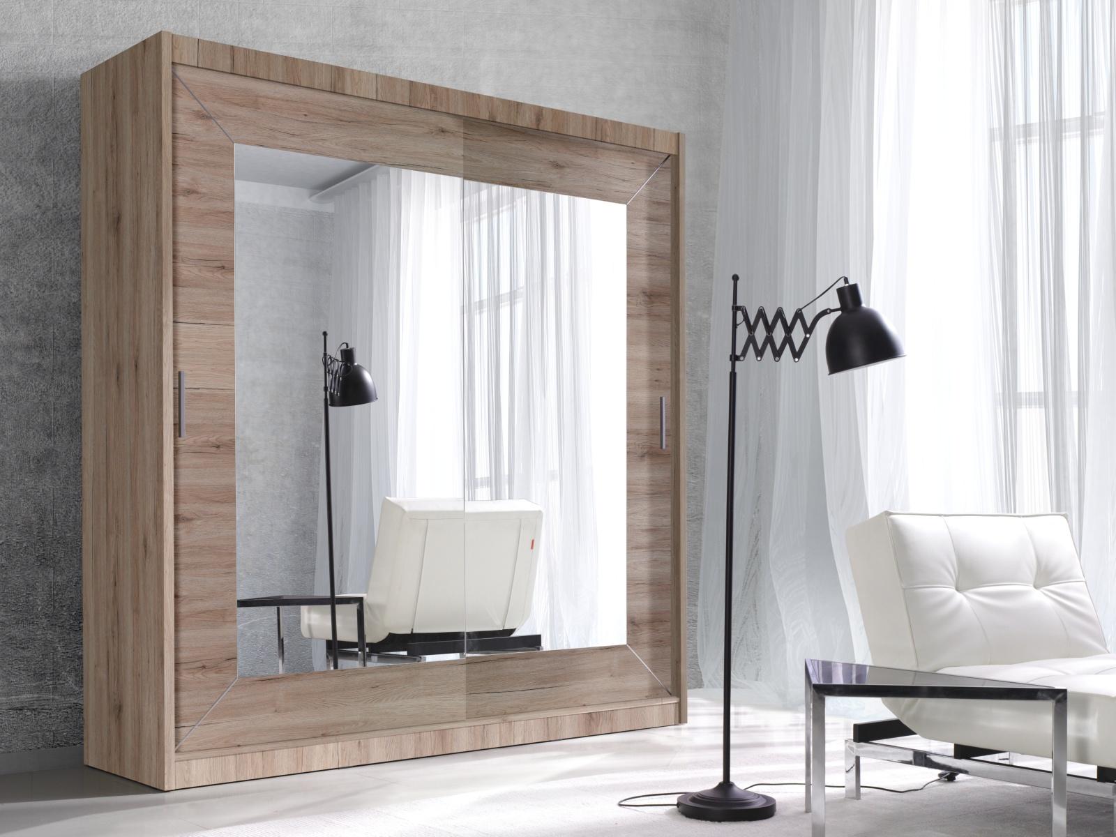 Smartshop ALFA šatní skříň se zrcadlem 200 TYP 18, dub san remo