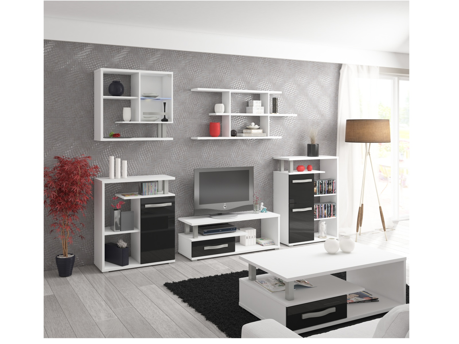 Obývací pokoj ANGEL, bílá/černý lesk