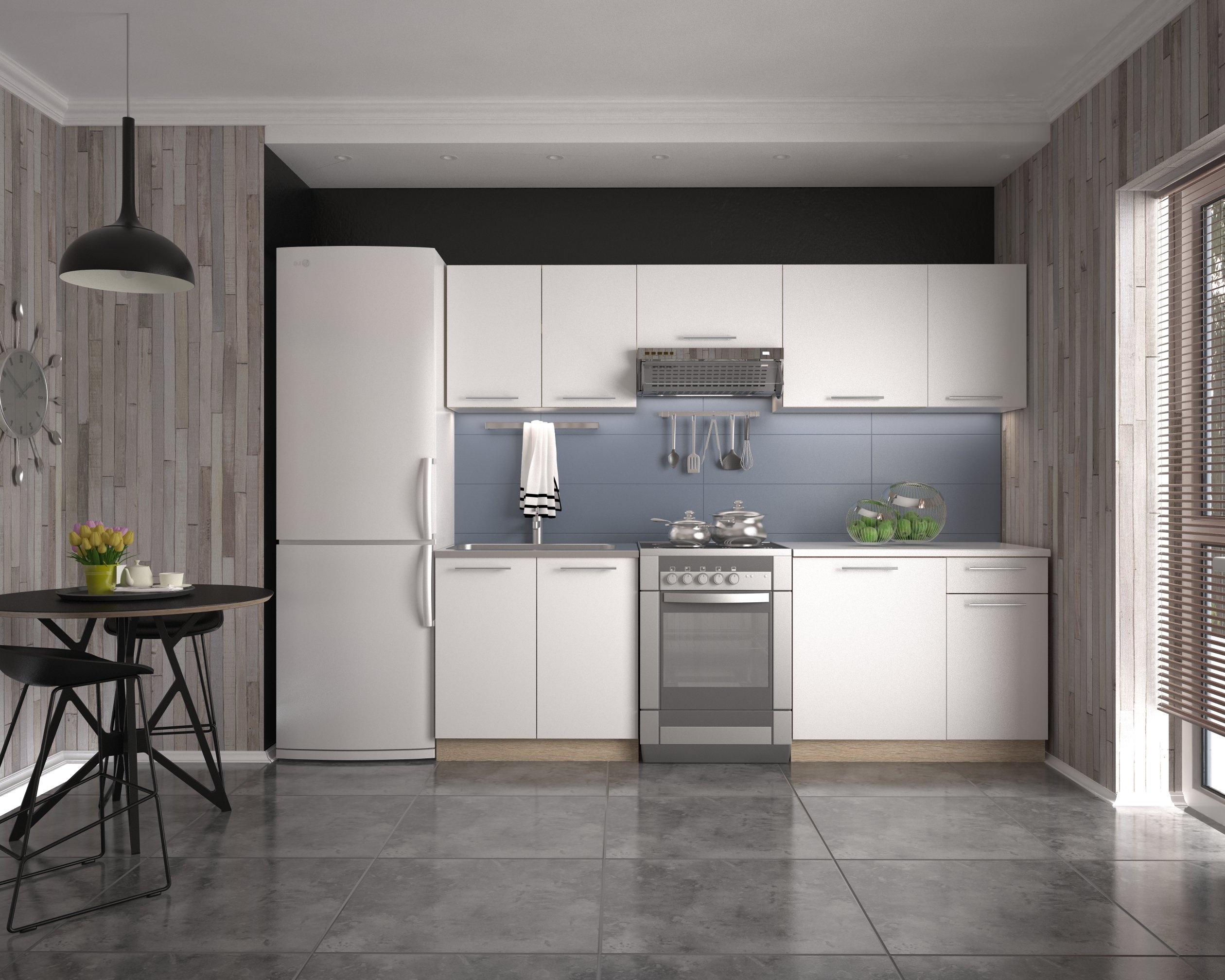 Halmar Kuchyně DARIA 240 cm, korpus: dub sonoma, dvířka: bílé