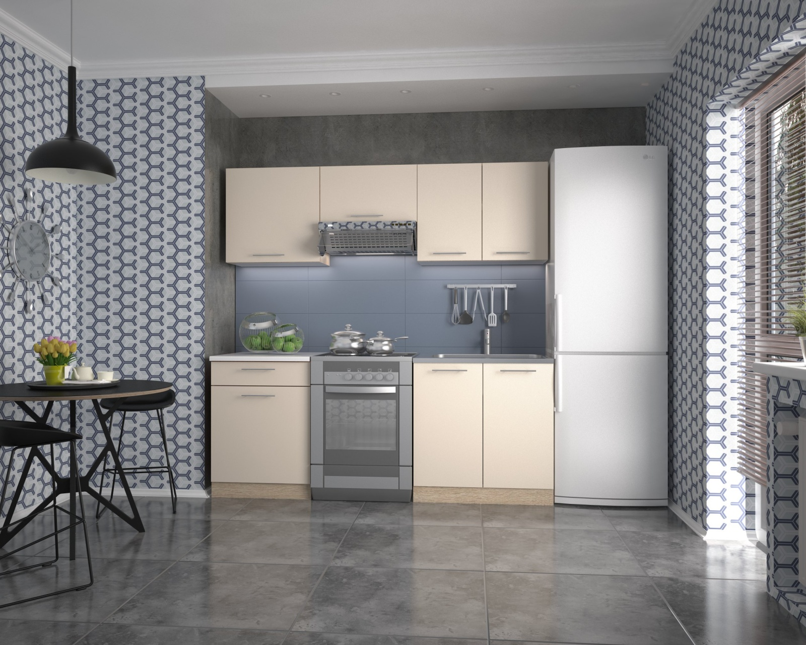 Halmar Kuchyně MARIJIA 200 cm, korpus: dub sonoma, dveře: vanilka