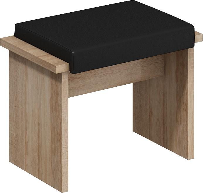 MORAVIA FLAT BOND, taburet malý, dub sonoma sv./černá ekokůže