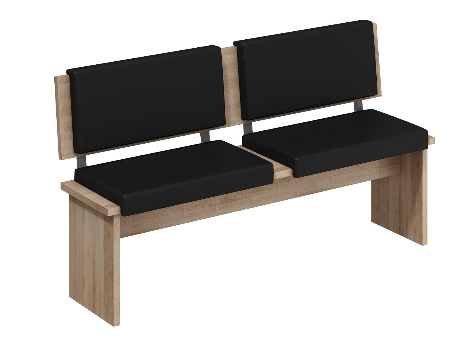 MORAVIA FLAT BOND, lavice velká, dub sonoma sv./černá ekokůže