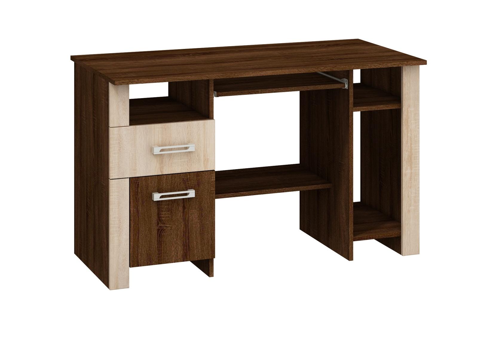 MORAVIA FLAT Studentský PC stůl HUGO mat, dub sonoma tmavý/dub sonoma