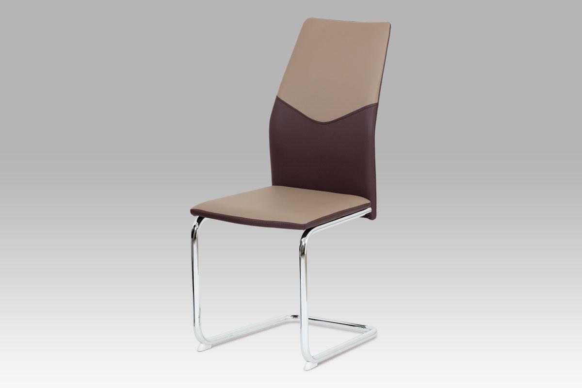 Autronic Jídelní židle AC-1610 CAP, koženka cappuccino + hnědá / chrom